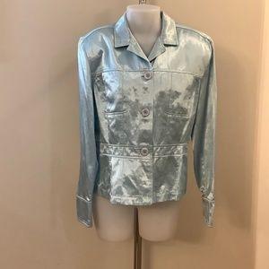 Jax Light Blue Shiny Blazer Jacket Large